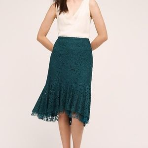 Anthropologie green lace skirt